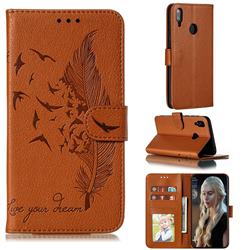 Intricate Embossing Lychee Feather Bird Leather Wallet Case for Huawei Y7(2019) / Y7 Prime(2019) / Y7 Pro(2019) - Brown