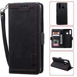 Luxury Retro Stitching Leather Wallet Phone Case for Huawei Y7(2019) / Y7 Prime(2019) / Y7 Pro(2019) - Black