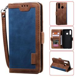 Luxury Retro Stitching Leather Wallet Phone Case for Huawei Y7(2019) / Y7 Prime(2019) / Y7 Pro(2019) - Dark Blue