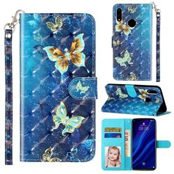 Rankine Butterfly 3D Leather Phone Holster Wallet Case for Huawei Y7(2019) / Y7 Prime(2019) / Y7 Pro(2019)