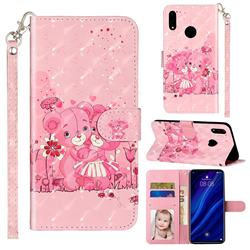 Pink Bear 3D Leather Phone Holster Wallet Case for Huawei Y7(2019) / Y7 Prime(2019) / Y7 Pro(2019)