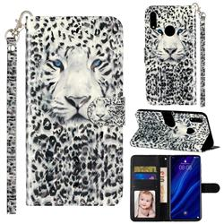 White Leopard 3D Leather Phone Holster Wallet Case for Huawei Y7(2019) / Y7 Prime(2019) / Y7 Pro(2019)