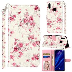 Rambler Rose Flower 3D Leather Phone Holster Wallet Case for Huawei Y7(2019) / Y7 Prime(2019) / Y7 Pro(2019)
