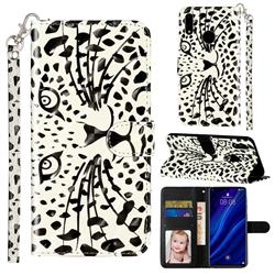 Leopard Panther 3D Leather Phone Holster Wallet Case for Huawei Y7(2019) / Y7 Prime(2019) / Y7 Pro(2019)