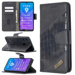 BinfenColor BF04 Color Block Stitching Crocodile Leather Case Cover for Huawei Y7(2019) / Y7 Prime(2019) / Y7 Pro(2019) - Black