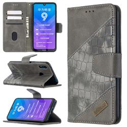 BinfenColor BF04 Color Block Stitching Crocodile Leather Case Cover for Huawei Y7(2019) / Y7 Prime(2019) / Y7 Pro(2019) - Gray