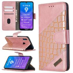 BinfenColor BF04 Color Block Stitching Crocodile Leather Case Cover for Huawei Y7(2019) / Y7 Prime(2019) / Y7 Pro(2019) - Rose Gold