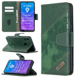 BinfenColor BF04 Color Block Stitching Crocodile Leather Case Cover for Huawei Y7(2019) / Y7 Prime(2019) / Y7 Pro(2019) - Green