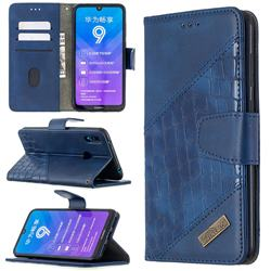 BinfenColor BF04 Color Block Stitching Crocodile Leather Case Cover for Huawei Y7(2019) / Y7 Prime(2019) / Y7 Pro(2019) - Blue