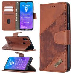 BinfenColor BF04 Color Block Stitching Crocodile Leather Case Cover for Huawei Y7(2019) / Y7 Prime(2019) / Y7 Pro(2019) - Brown
