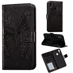 Intricate Embossing Vivid Butterfly Leather Wallet Case for Huawei Y7(2019) / Y7 Prime(2019) / Y7 Pro(2019) - Black