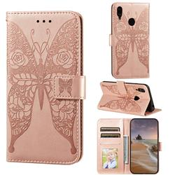 Intricate Embossing Rose Flower Butterfly Leather Wallet Case for Huawei Y7(2019) / Y7 Prime(2019) / Y7 Pro(2019) - Rose Gold