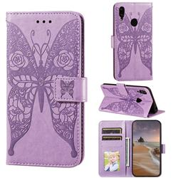 Intricate Embossing Rose Flower Butterfly Leather Wallet Case for Huawei Y7(2019) / Y7 Prime(2019) / Y7 Pro(2019) - Purple