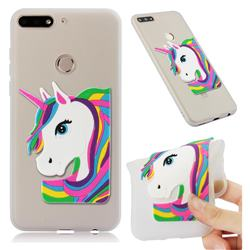Rainbow Unicorn Soft 3D Silicone Case for Huawei Y7(2018) - Translucent White