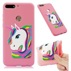 Rainbow Unicorn Soft 3D Silicone Case for Huawei Y7(2018) - Pink