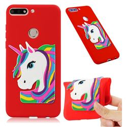Rainbow Unicorn Soft 3D Silicone Case for Huawei Y7(2018) - Red