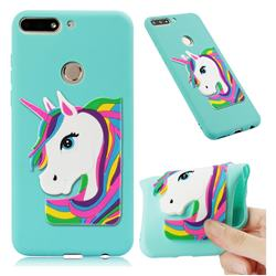 Rainbow Unicorn Soft 3D Silicone Case for Huawei Y7(2018) - Sky Blue