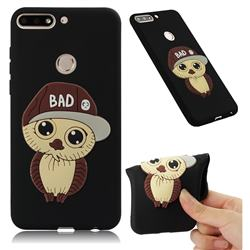 Bad Boy Owl Soft 3D Silicone Case for Huawei Y7(2018) - Black