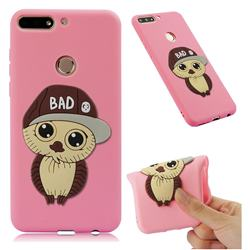 Bad Boy Owl Soft 3D Silicone Case for Huawei Y7(2018) - Pink