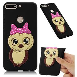 Bowknot Girl Owl Soft 3D Silicone Case for Huawei Y7(2018) - Black
