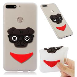 Glasses Dog Soft 3D Silicone Case for Huawei Y7(2018) - Translucent White