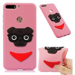 Glasses Dog Soft 3D Silicone Case for Huawei Y7(2018) - Pink