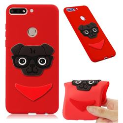 Glasses Dog Soft 3D Silicone Case for Huawei Y7(2018) - Red