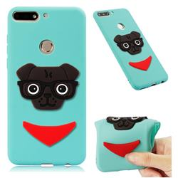 Glasses Dog Soft 3D Silicone Case for Huawei Y7(2018) - Sky Blue