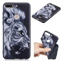 Lion 3D Embossed Relief Black TPU Cell Phone Back Cover for Huawei Y7(2018)