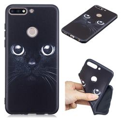 Bearded Feline 3D Embossed Relief Black TPU Cell Phone Back Cover for Huawei Y7(2018)