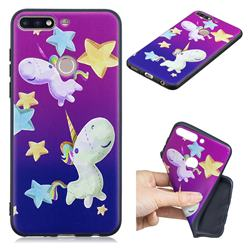 Pony 3D Embossed Relief Black TPU Cell Phone Back Cover for Huawei Y7(2018)