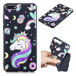 Candy Unicorn 3D Embossed Relief Black TPU Cell Phone Back Cover for Huawei Y7(2018)