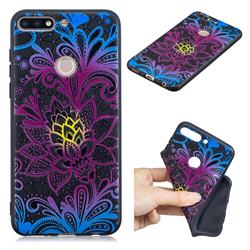 Colorful Lace 3D Embossed Relief Black TPU Cell Phone Back Cover for Huawei Y7(2018)