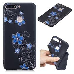 Little Blue Flowers 3D Embossed Relief Black TPU Cell Phone Back Cover for Huawei Y7(2018)