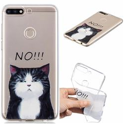 Cat Say No Clear Varnish Soft Phone Back Cover for Huawei Y7(2018)