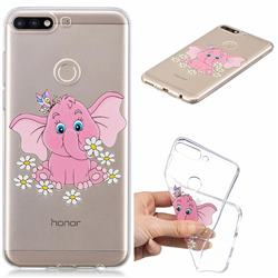 Tiny Pink Elephant Clear Varnish Soft Phone Back Cover for Huawei Y7(2018)