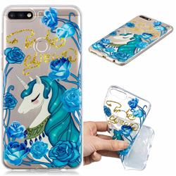 Blue Flower Unicorn Clear Varnish Soft Phone Back Cover for Huawei Y7(2018)