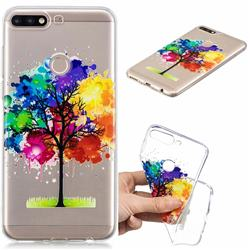 Oil Painting Tree Clear Varnish Soft Phone Back Cover for Huawei Y7(2018)