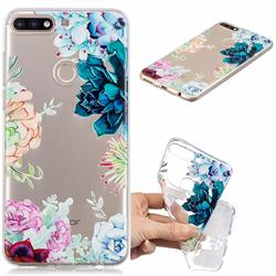 Gem Flower Clear Varnish Soft Phone Back Cover for Huawei Y7(2018)