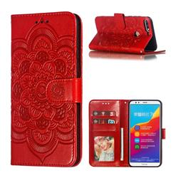 Intricate Embossing Datura Solar Leather Wallet Case for Huawei Y7(2018) - Red