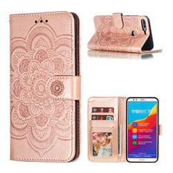 Intricate Embossing Datura Solar Leather Wallet Case for Huawei Y7(2018) - Rose Gold