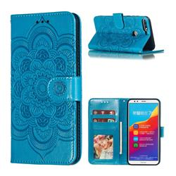 Intricate Embossing Datura Solar Leather Wallet Case for Huawei Y7(2018) - Blue