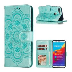 Intricate Embossing Datura Solar Leather Wallet Case for Huawei Y7(2018) - Green