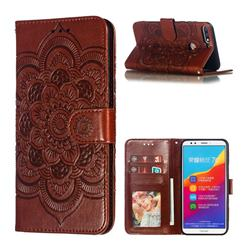 Intricate Embossing Datura Solar Leather Wallet Case for Huawei Y7(2018) - Brown