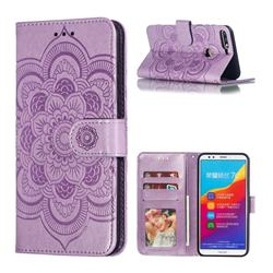 Intricate Embossing Datura Solar Leather Wallet Case for Huawei Y7(2018) - Purple