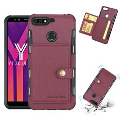 Brush Multi-function Leather Phone Case for Huawei Y7(2018) - Wine Red