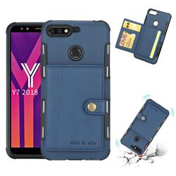 Brush Multi-function Leather Phone Case for Huawei Y7(2018) - Blue