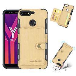 Brush Multi-function Leather Phone Case for Huawei Y7(2018) - Golden