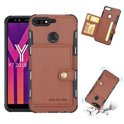 Brush Multi-function Leather Phone Case for Huawei Y7(2018) - Brown