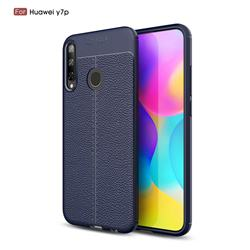 Luxury Auto Focus Litchi Texture Silicone TPU Back Cover for Huawei Y7p - Dark Blue